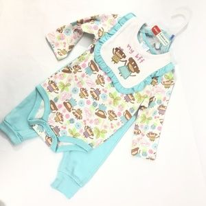 NWT Kidgets Baby Girl Outfit Animal Pattern